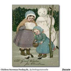 Children Snowman Feeding Birds Winter Postcard
