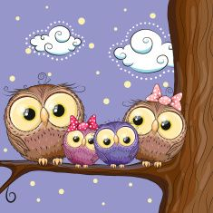 Illustration of colorful owls vector art, clipart and stock vectors. Owl Cartoon, Cute Cartoon, Cute Images, Cute Pictures, 365 Kawaii, Whimsical Owl, Owl Family, Owl Art, Cute Owl