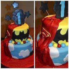 Superhero 1st birthday cake