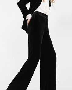Image 3 of WIDE VELVET TROUSERS from Zara