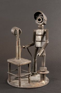 """A welder, crafted (welded) by someone familiar with the details of the trade, is our first LaborArts """"Image of the Week. Welding Crafts, Welding Art Projects, Metal Art Projects, Metal Crafts, Diy Welding, Metal Art Sculpture, Steel Sculpture, Metal Welding, Steel Art"""