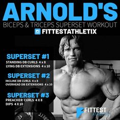 When aiming to build his arms, Arnold would use his brain and instincts as much as sheer strength. He advised all who aim for similar development to do the same. Aim For Equal Development. Arnold always believed that since the arms can be seen from all poses and from every conceivable angle, they should be trained from all angles. You don't develop championship-winning arms simply by throwing around a heavy barbell doing curls or blasting out some reps for triceps.