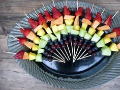 Yummy!  Rainbow fruit skewers.  Going to make a cheesecake dipping sauce with them!  Rainbow Fruit Kebabs