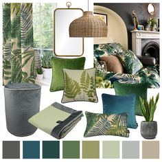 Invite the Outdoors In with Botanical Inspired Decor – McAlister Textiles Blue And Green Living Room, Green Interiors, Botanical Bedroom Decor, Blue Living Room, Living Room Green, Lounge Decor, Conservatory Decor, Green Home Decor, Living Decor