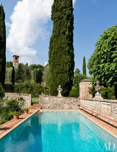 Musician Ned Lambton Restores His Magnificent Tuscan Villa, stone walls surround the swimming pool Tuscan Design, Tuscan Style, Mediterranean Style, Architectural Digest, Jacuzzi, Magic Garden, Tuscan House, Tuscan Garden, Italian Garden