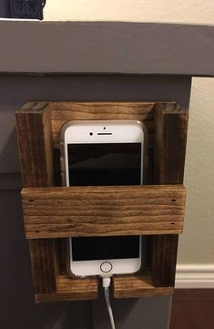 Hanging/Stick on cell phone holder/cradle nightstand wall phone charger holder Phone Charger Holder, Cell Phone Holder, Diy Nightstand, Floating Nightstand, Bedside, Phone Organization, Organizing, Living At Home, Living Room