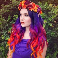 Purple plus red ombre hair idea is great for this Fall, try this with vpfashion
