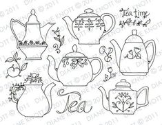 Items similar to Digital Stamp / Embroidery Pattern - Tea Time Teapots on Etsy