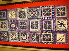 "Snowflake Art - done Jan. 2013  8"" square w/snowflake, 11'  blue or purple square w/crayon border, 12"" black square background"