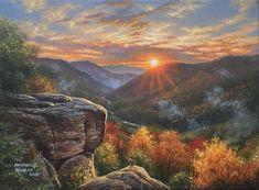 Autumn Sunrise - Mountains Wallpaper ID 2020309 - Desktop Nexus Nature Dream Pictures, Fall Pictures, Pictures To Paint, Landscape Art, Landscape Paintings, Landscapes, Kinkade Paintings, Acrylic Painting Inspiration, Art Trading Cards