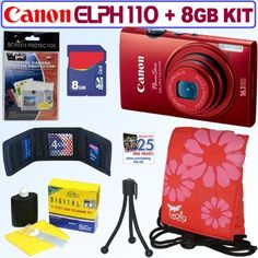 Canon PowerShot ELPH 110 HS 16.1 MP CMOS Digital Camera with 5x Optical Image Stabilized Zoom 24mm Wide-Angle Lens and 1080p Full HD Video Recording (Red) + 8GB Accessory Kit by Canon. $149.95. Slim and curvy, the Canon ELPH 110 HS is a natural fit for your hand. Easy operability and reliable high-quality performance are reason enough to carry it everywhere, but you'll also love the attention-getting quality of the camera's distinctly sophisticated modern design. The ma...