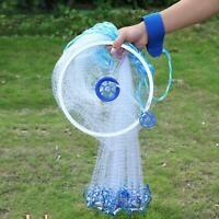 8ft Nylon Mesh Cast Net Saltwater Easy Throw Bait Casting Net with Real Sinker