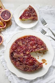 Blood Orange Upside Down Cake is a beautiful and unique cornmeal cake made with fresh blood oranges. This winter citrus cake is perfect served with tea. Sweet Desserts, No Bake Desserts, Dessert Recipes, Citrus Cake, Blood Orange, Celebration Cakes, How To Make Cake, Baked Goods, Sweet Tooth