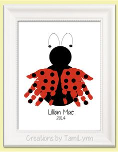 Ladybug Handprint Art - Personalized Baby Nursery, Child's Room, Girls' Room, Mother's Day, Grandparent Gift - DIY and Crafts Kids Crafts, Baby Crafts, Summer Crafts, Toddler Crafts, Crafts To Do, Preschool Crafts, Hand Kunst, Footprint Crafts, Baby Footprint Art