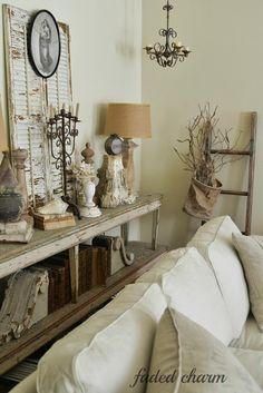 Vintage filled cottage living room Kathleen at FADED CHARM has the BeSt ViNtaGe!*!*!