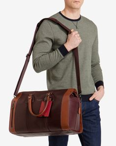 dfc0f85b7c9076 Ted baker Colour Block Leather Holdall Bag in Purple for Men ... Colour  Block