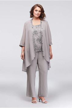 fa2a30c0c62b7 Chiffon Plus Size Pantsuit with Lace-Edged Jacket - For the lady who  prefers just