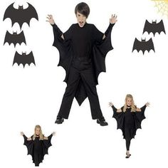 Costume Accessory Vampire Bat Wings Halloween Kids Unisex One Size Black Prop US #Smiffys