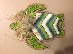 Sea turtle burlap craft project.