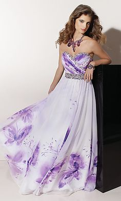 Long Strapless Sweetheart Print Gown at PromGirl.com