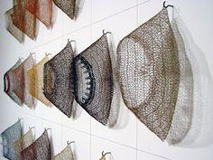 Tracy Krumm. Crocheted metal sculptures pieces.