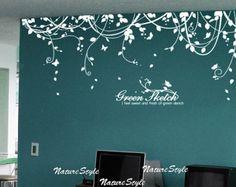 Abstrakt blumen mit Schmetterlinge-Vinyl Wand Aufkleber, Sticker, Natur-Design