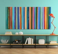 Abstract Painting Striped Colors on Colors by ModernArtHomeDecor