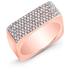 Anne Sisteron  14KT Rose Gold Diamond Brick Ring (4.810.285 COP) ❤ liked on Polyvore featuring jewelry, rings, rose, diamond jewellery, rose gold diamond jewelry, rose gold jewellery, red gold jewelry and red gold ring