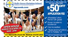 Thinking about where you're going to send your children next  year for school?  Mark your calendar for March 16 & April 26 to see why you should send them to Holly Grove Christian School in Westover, MD! Bring your Frugals coupon and save $50 off your application fee. www.frugals.biz ; www.hgcsweb.com