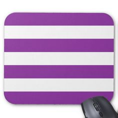 Modern Bold Purple and White Stripes Mouse Pad