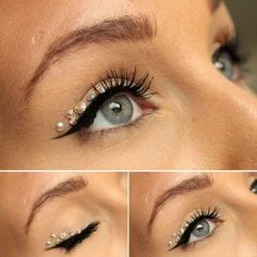 A well-placed rhinestone (or seven) can do magic*. | 23 Ways To Up Your Makeup Game For New Year's Eve