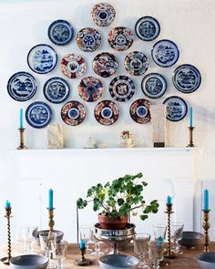 Interior designer @kyle_marshall first began collecting Canton plates for dinner service but his trove grew so large that he decided to hang them as art alongside some Imari porcelain pieces in the dining area. Discover how he and @mattsmoak transformed a dark open-concept apartment in New York Citys East Village neighborhood into an airy oasis through the #linkinbio - Architecture and Home Decor - Bedroom - Bathroom - Kitchen And Living Room Interior Design Decorating Ideas - #architecture…