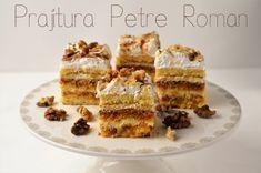 Prajitura Petre Roman - Retete culinare by Teo's Kitchen Waffles, Roman, Caramel, Breakfast, Kitchen, Food, Sticky Toffee, Morning Coffee, Candy