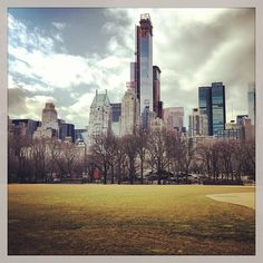 A view from the ballfields in Central Park looking south to Central Park South. That very tall building is the one where the crane collapsed in Hurricane Sandy. It's just too tall, don't you think?