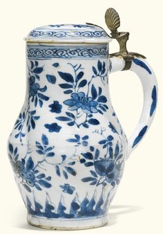 "Early 18th century Dutch Delft ""Bleu Persan"" Jug from the Gustav Leonhardt Collection at the Bartolotti House, Amsterdam"
