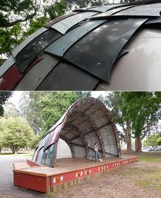 Bandshell built from recycled car hoods.
