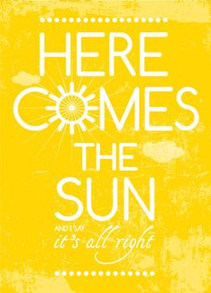 Beatles Song Music Here Comes the Sun Poster Art by PeanutoakPrint Beatles Party, Beatles Songs, Songs To Sing, The Beatles, Here Comes, Album Songs, Kids Prints, Me Me Me Song, Mellow Yellow