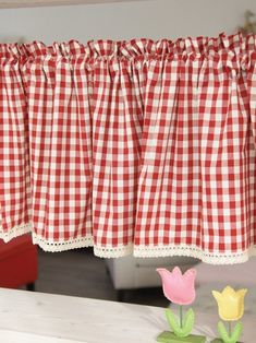 New Primitive Cottage Chic Breckenridge TRUE RED & CREAM PLAID ...