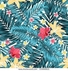 Seamless Tropical Jungle Palm Leaves Pattern with Lily, Hibiscus and Plumeria Flowers. Green Blue Turquoise on White Background. Bright Colorful Exotic Rain Forest Camouflage Texture.