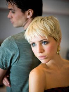 Never mind the look on her face - its an awesome cut! Theres just something about a #blond #pixie #hair