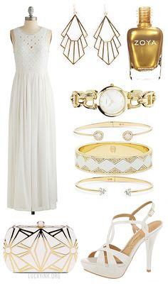 Mood Board: Modern Hollywood Glamour by LuckyInk.org #MoodBoard #Gold #Fashion #Women #ArtDeco #VintageStyle #Geometric #Trends