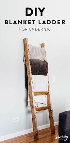 blanket rustic ladder sammy state diy on DIY Rustic Blanket Ladder Sammy On StateYou can find Diy furniture and more on our website Diy Furniture Easy, Diy Furniture Projects, Diy Craft Projects, Rustic Furniture, Furniture Design, Luxury Furniture, Furniture Chairs, Fun Diy Projects For Home, Diy Living Room Furniture