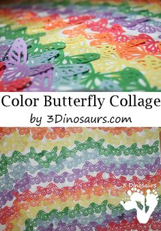 Color Butterfly Collage Craft - collage made from butterfly punch - 3Dinosaurs.com