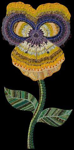 "Irina Charny ~ 'Yellow Flower', 23"" x 47"" ~ 2007 glass, beads, millefiori, gold, porcelain, dichroic glass"