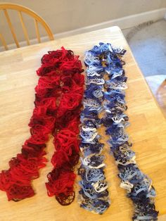 Scarves I like the look of.  Maybe make it.  Yarn at Walmart.  Red Heart Boutique Sashay.  Instructions on inside of lavel.  1 Skein = 1 Scarf.