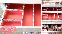 DIY How to make a cardboard drawer organizer HD (corrugated cardboard furniture) Diy Organizer, Cardboard Organizer, Jewelry Organizer Drawer, Drawer Organisers, Storage Organizers, Jewelry Storage, Vanity Drawers, Diy Drawers, Diy Vanity