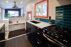 Calliope by Rewild Homes - Tiny Living Blue Cabinets, Upper Cabinets, Copper Vessel Sinks, Composting Toilet, Built In Desk, Tiny Living, Granite Countertops, Smart Home, Dining Area