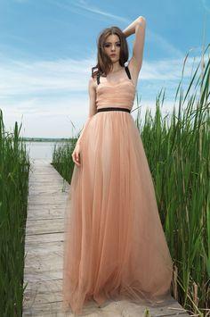 Dare to Dream - POEMA -       http://shop.poema.ro/pinterest-poema * rochie bej lunga din tulle cu bretele