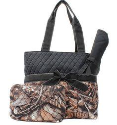 Black Camo Baby Diaper Bag Set