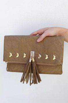 Going Places Clutch: Mocha/Gold